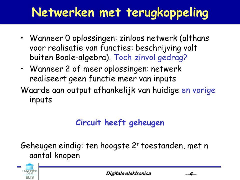 Digitale elektronica --4-- Netwerken met terugkoppeling Wanneer 0 oplossingen: zinloos netwerk (althans voor realisatie van functies: beschrijving valt buiten Boole-algebra).