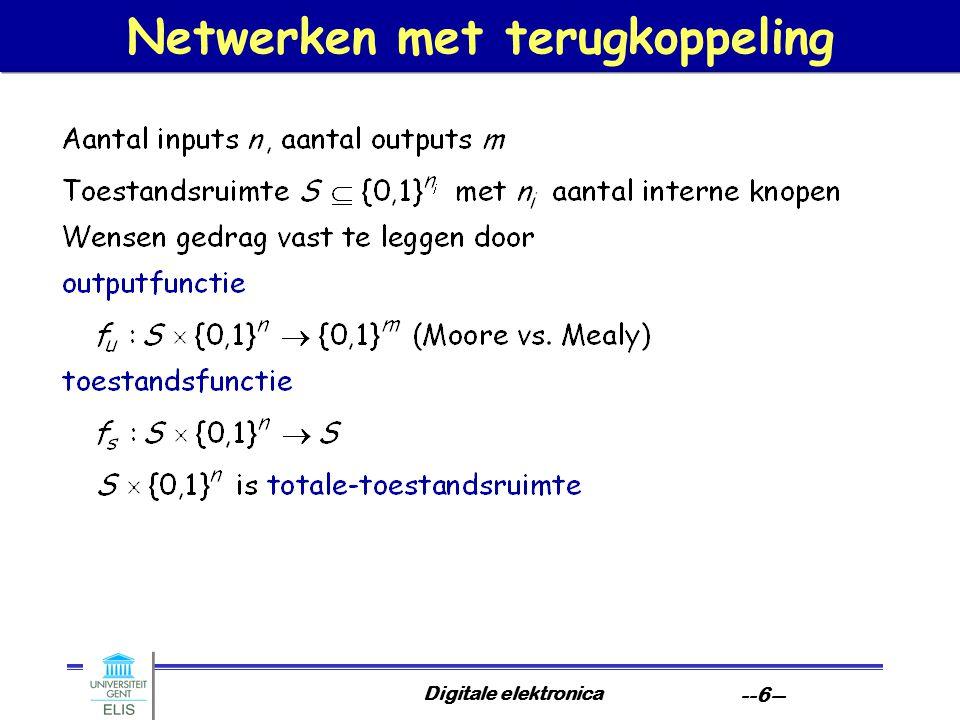 Digitale elektronica --7-- Analyse van poortnetwerken met terugkoppeling Doelstelling: gegeven een teruggekoppeld poortnetwerk, zoek een representatie van de functies f u en f s, en ga na of gedrag van circuit correct weergegeven wordt.