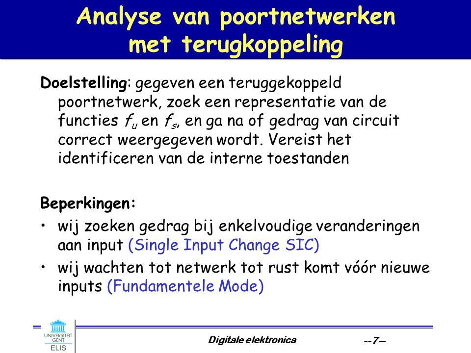 Digitale elektronica --18-- Statische hazards eliminatie door invoeren van redundantie x1x1 x3x3 000 001 010 011 110 111 100 101 x2x2