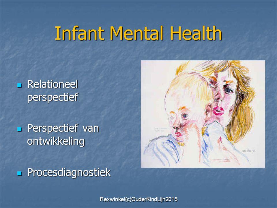 Infant Mental Health Relationeel perspectief Relationeel perspectief Perspectief van ontwikkeling Perspectief van ontwikkeling Procesdiagnostiek Procesdiagnostiek Rexwinkel(c)OuderKindLijn2015