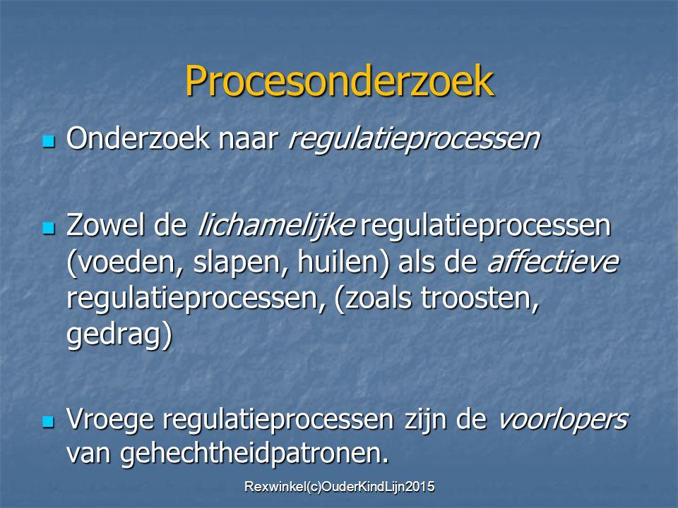 Procesonderzoek Onderzoek naar regulatieprocessen Onderzoek naar regulatieprocessen Zowel de lichamelijke regulatieprocessen (voeden, slapen, huilen) als de affectieve regulatieprocessen, (zoals troosten, gedrag) Zowel de lichamelijke regulatieprocessen (voeden, slapen, huilen) als de affectieve regulatieprocessen, (zoals troosten, gedrag) Vroege regulatieprocessen zijn de voorlopers van gehechtheidpatronen.