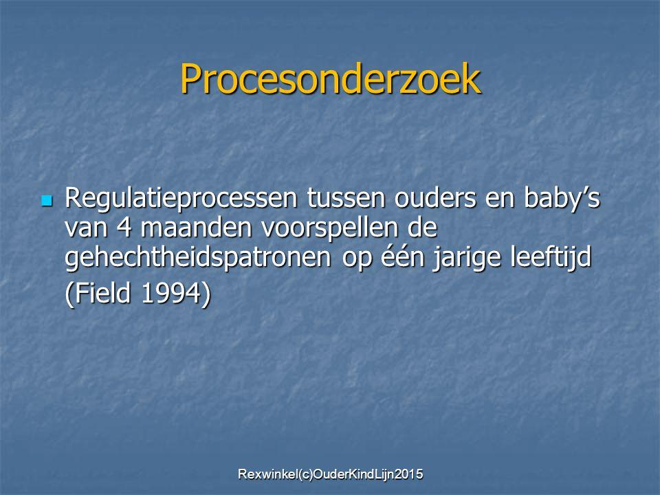 Procesonderzoek Regulatieprocessen tussen ouders en baby's van 4 maanden voorspellen de gehechtheidspatronen op één jarige leeftijd Regulatieprocessen tussen ouders en baby's van 4 maanden voorspellen de gehechtheidspatronen op één jarige leeftijd (Field 1994) Rexwinkel(c)OuderKindLijn2015
