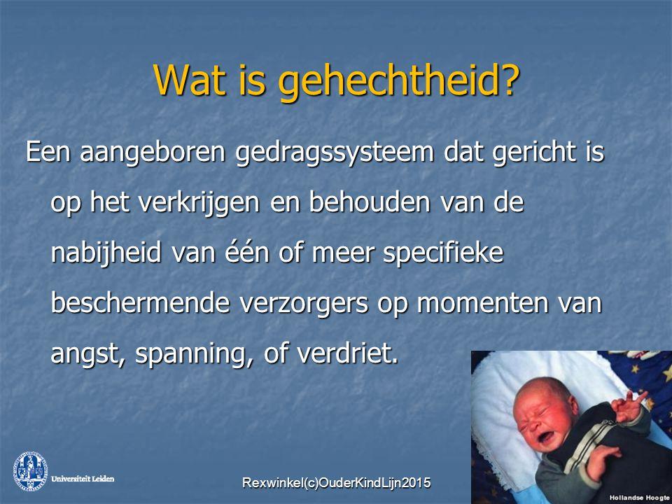 Wat is gehechtheid? Een aangeboren gedragssysteem dat gericht is op het verkrijgen en behouden van de nabijheid van één of meer specifieke beschermend
