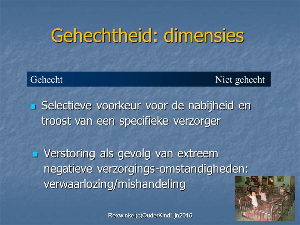 Verstoring als gevolg van extreem negatieve verzorgings-omstandigheden: verwaarlozing/mishandeling Verstoring als gevolg van extreem negatieve verzorgings-omstandigheden: verwaarlozing/mishandeling Selectieve voorkeur voor de nabijheid en troost van een specifieke verzorger Selectieve voorkeur voor de nabijheid en troost van een specifieke verzorger Gehechtheid: dimensies Gehecht Niet gehecht Rexwinkel(c)OuderKindLijn2015