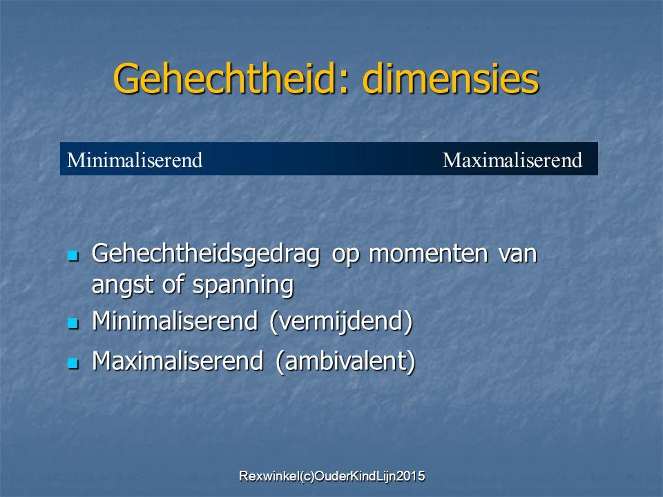 Gehechtheidsgedrag op momenten van angst of spanning Gehechtheidsgedrag op momenten van angst of spanning Minimaliserend (vermijdend) Minimaliserend (vermijdend) Maximaliserend (ambivalent) Maximaliserend (ambivalent) Gehechtheid: dimensies Minimaliserend Maximaliserend Rexwinkel(c)OuderKindLijn2015