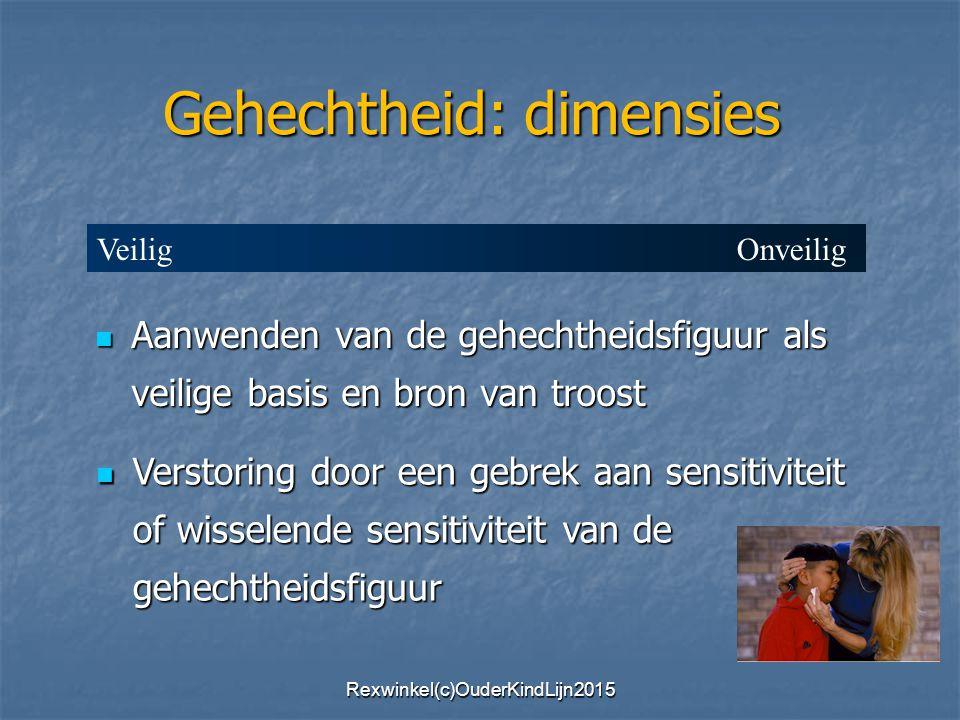 Aanwenden van de gehechtheidsfiguur als veilige basis en bron van troost Aanwenden van de gehechtheidsfiguur als veilige basis en bron van troost Verstoring door een gebrek aan sensitiviteit of wisselende sensitiviteit van de gehechtheidsfiguur Verstoring door een gebrek aan sensitiviteit of wisselende sensitiviteit van de gehechtheidsfiguur Gehechtheid: dimensies Veilig Onveilig Rexwinkel(c)OuderKindLijn2015