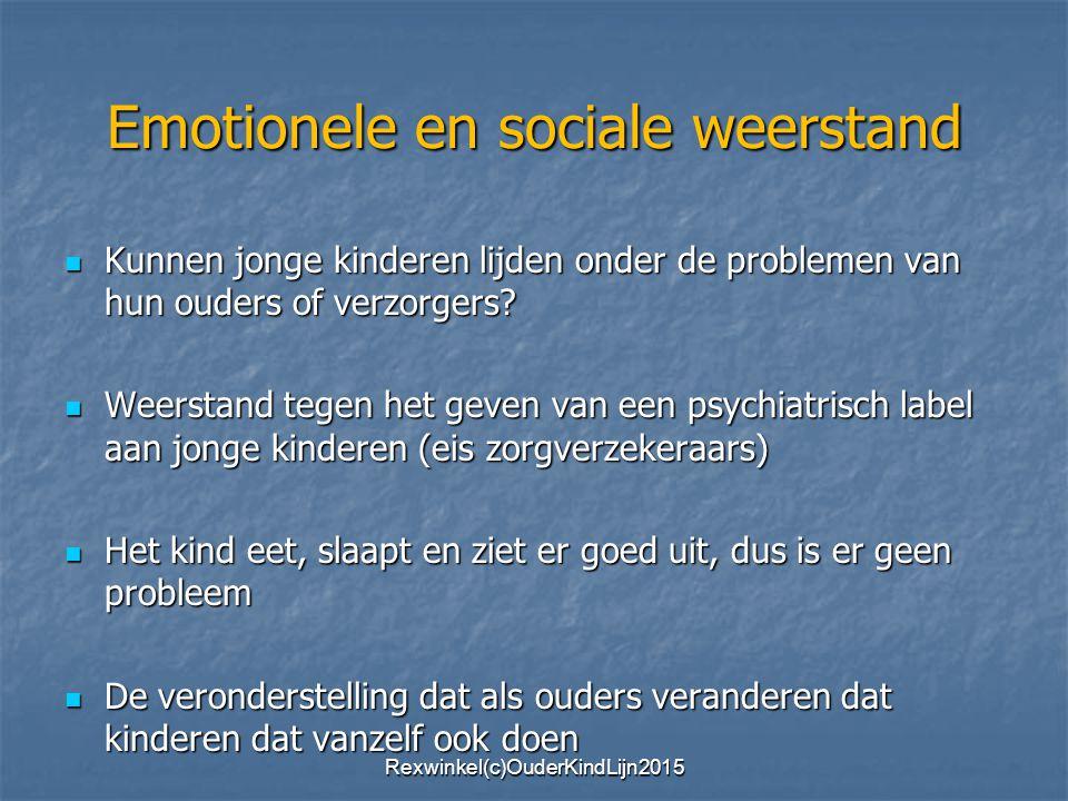 Emotionele en sociale weerstand Kunnen jonge kinderen lijden onder de problemen van hun ouders of verzorgers.