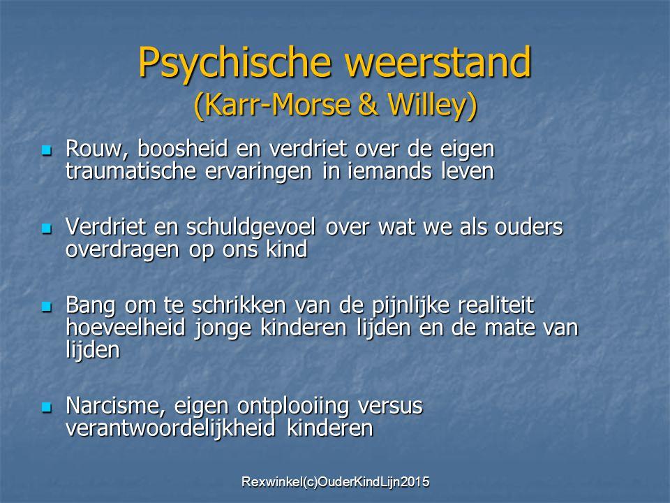 Psychische weerstand (Karr-Morse & Willey) Rouw, boosheid en verdriet over de eigen traumatische ervaringen in iemands leven Rouw, boosheid en verdrie