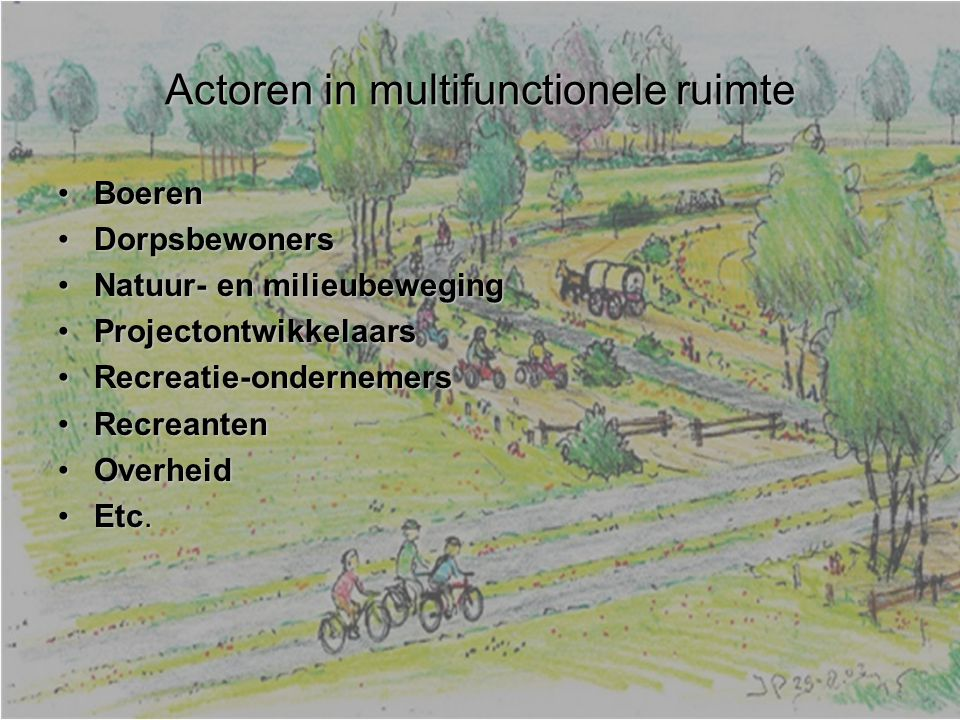 Actoren in multifunctionele ruimte BoerenBoeren DorpsbewonersDorpsbewoners Natuur- en milieubewegingNatuur- en milieubeweging ProjectontwikkelaarsProjectontwikkelaars Recreatie-ondernemersRecreatie-ondernemers RecreantenRecreanten OverheidOverheid Etc.Etc.