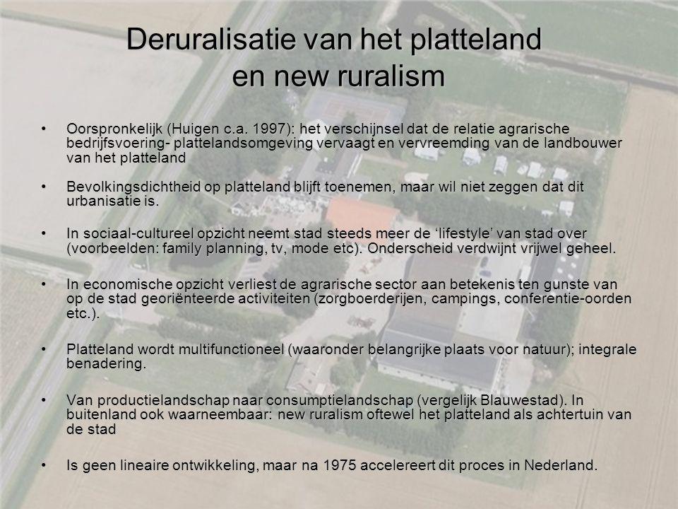Deruralisatie van het platteland en new ruralism Oorspronkelijk (Huigen c.a. 1997):Oorspronkelijk (Huigen c.a. 1997): het verschijnsel dat de relatie