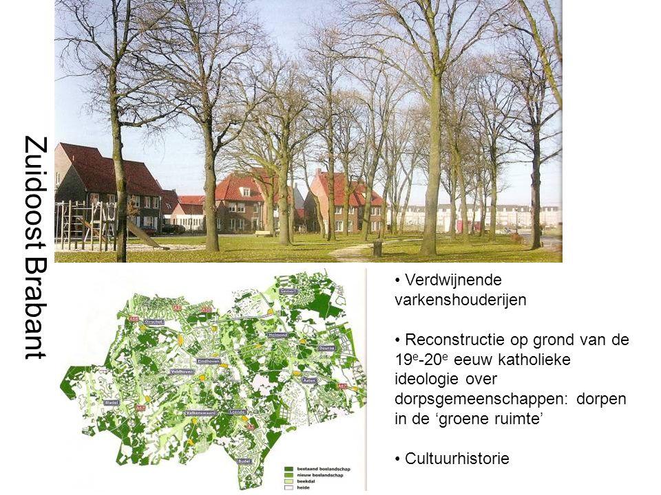 Zuidoost Brabant Verdwijnende varkenshouderijen Reconstructie op grond van de 19 e -20 e eeuw katholieke ideologie over dorpsgemeenschappen: dorpen in de 'groene ruimte' Cultuurhistorie
