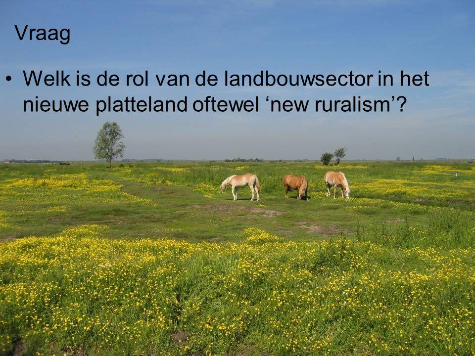 Vraag Welk is de rol van de landbouwsector in het nieuwe platteland oftewel 'new ruralism'
