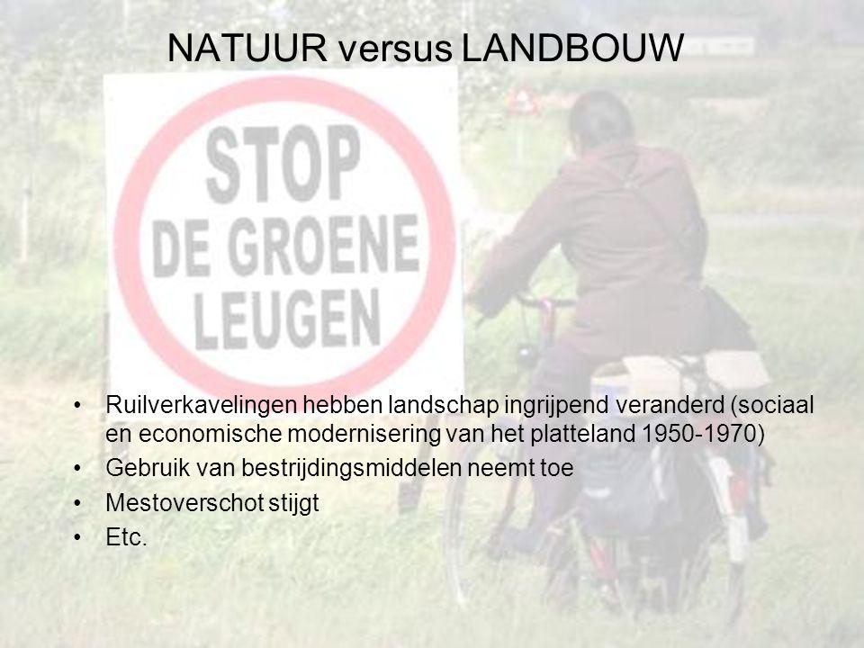 Ruilverkavelingen hebben landschap ingrijpend veranderd (sociaal en economische modernisering van het platteland 1950-1970) Gebruik van bestrijdingsmiddelen neemt toe Mestoverschot stijgt Etc.