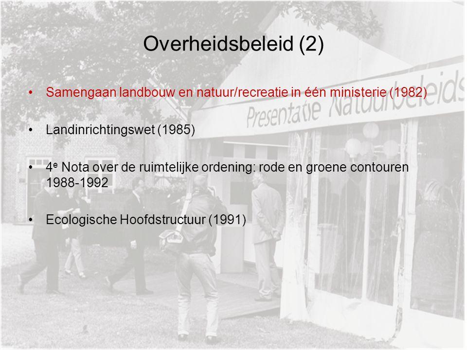 Overheidsbeleid (2) Samengaan landbouw en natuur/recreatie in één ministerie (1982) Landinrichtingswet (1985) 4 e Nota over de ruimtelijke ordening: rode en groene contouren 1988-1992 Ecologische Hoofdstructuur (1991)
