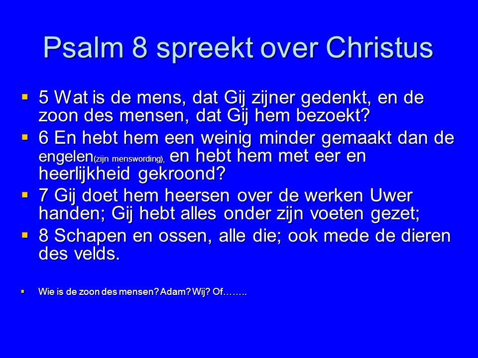 Psalm 8 spreekt over Christus  5 Wat is de mens, dat Gij zijner gedenkt, en de zoon des mensen, dat Gij hem bezoekt?  6 En hebt hem een weinig minde