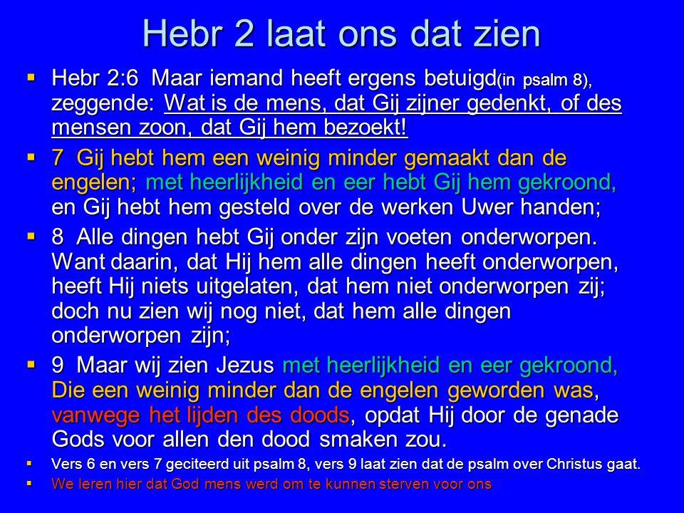 Hebr 2 laat ons dat zien  Hebr 2:6 Maar iemand heeft ergens betuigd (in psalm 8), zeggende: Wat is de mens, dat Gij zijner gedenkt, of des mensen zoo