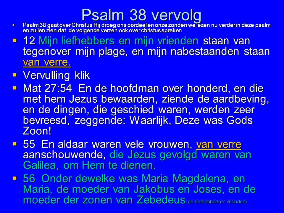 Psalm 38 vervolg  Psalm 38 gaat over Christus Hij droeg ons oordeel en onze zonden we lezen nu verder in deze psalm en zullen zien dat de volgende ve
