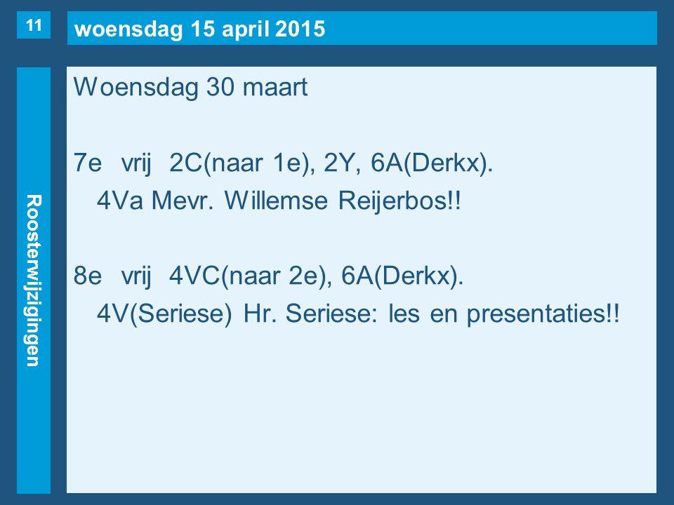 woensdag 15 april 2015 Roosterwijzigingen Woensdag 30 maart 7evrij2C(naar 1e), 2Y, 6A(Derkx).