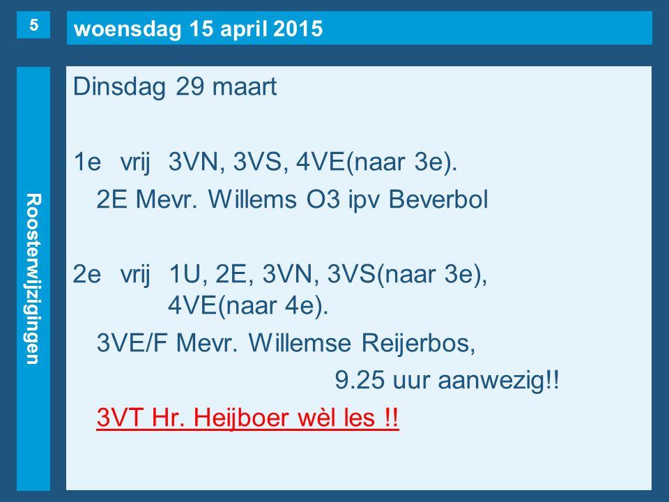 woensdag 15 april 2015 Roosterwijzigingen Dinsdag 29 maart 3evrij1F, 3VK.
