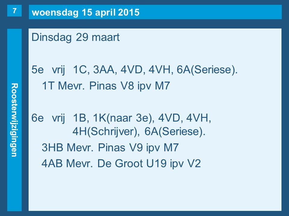 woensdag 15 april 2015 Roosterwijzigingen Woensdag 30 maart 1evrij1Y, 3VA/L(naar 3e), 4VC.