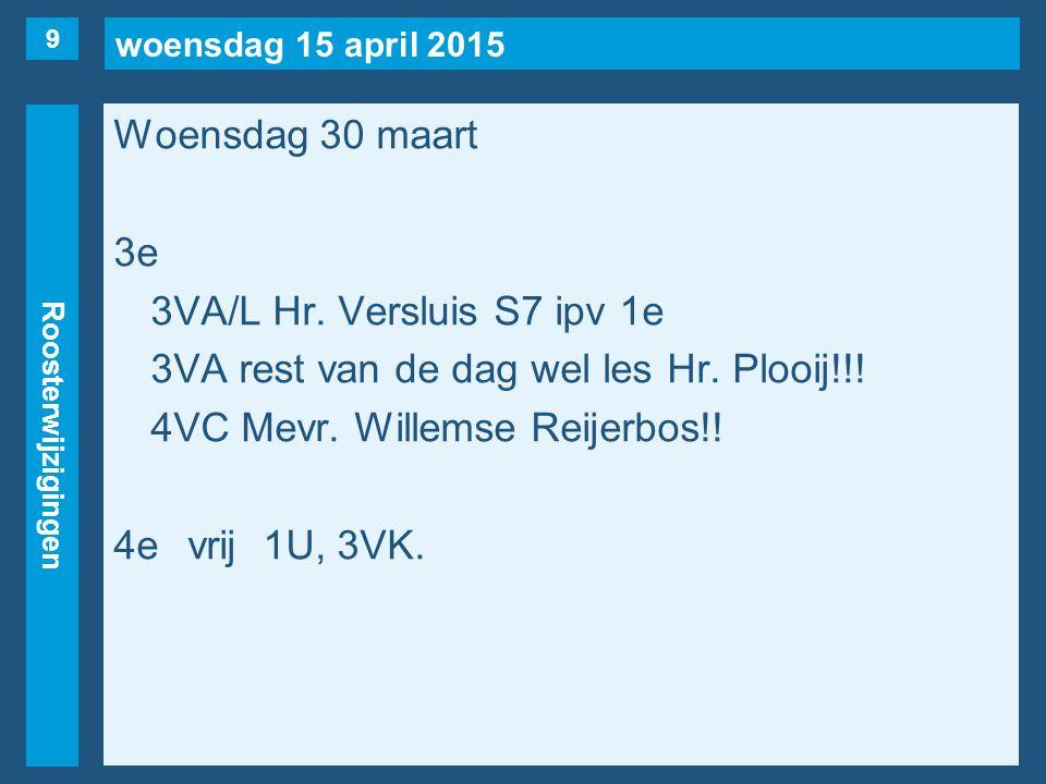 woensdag 15 april 2015 Roosterwijzigingen Woensdag 30 maart 3e 3VA/L Hr.