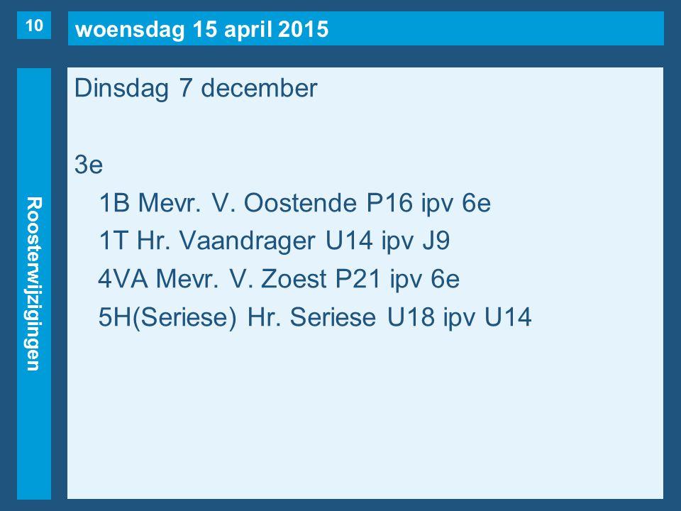woensdag 15 april 2015 Roosterwijzigingen Dinsdag 7 december 3e 1B Mevr. V. Oostende P16 ipv 6e 1T Hr. Vaandrager U14 ipv J9 4VA Mevr. V. Zoest P21 ip