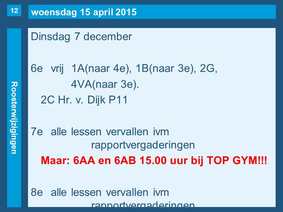 woensdag 15 april 2015 Roosterwijzigingen Dinsdag 7 december 6evrij1A(naar 4e), 1B(naar 3e), 2G, 4VA(naar 3e). 2C Hr. v. Dijk P11 7ealle lessen verval
