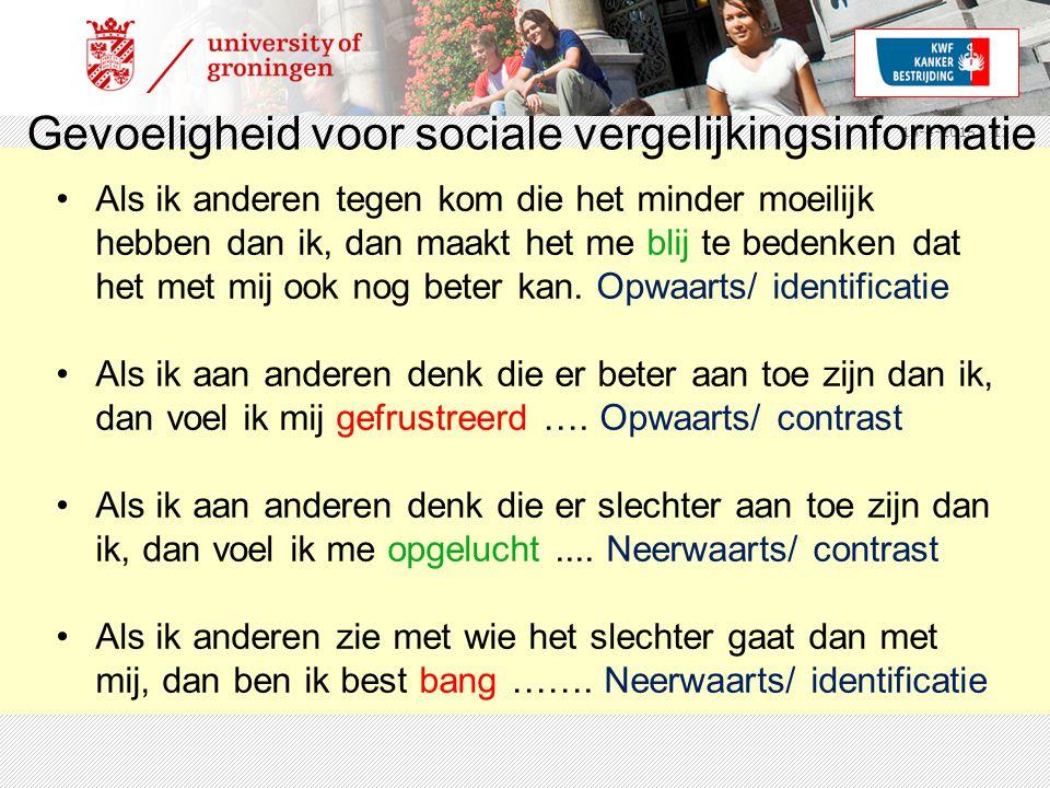 15-4-2015 | 11 Gevoeligheid voor sociale vergelijkingsinformatie Als ik anderen tegen kom die het minder moeilijk hebben dan ik, dan maakt het me blij te bedenken dat het met mij ook nog beter kan.
