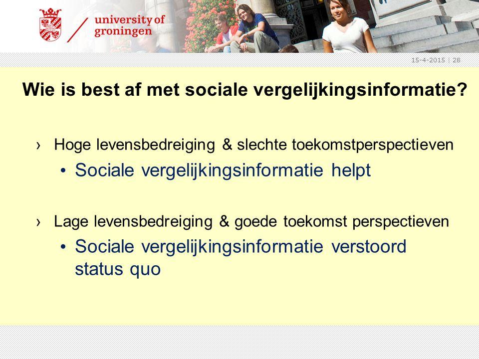 15-4-2015 | 28 Wie is best af met sociale vergelijkingsinformatie.