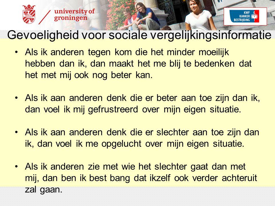15-4-2015 | 6 Gevoeligheid voor sociale vergelijkingsinformatie Als ik anderen tegen kom die het minder moeilijk hebben dan ik, dan maakt het me blij te bedenken dat het met mij ook nog beter kan.
