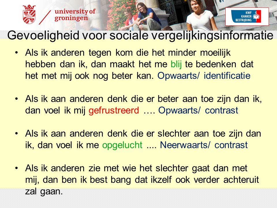 15-4-2015 | 9 Gevoeligheid voor sociale vergelijkingsinformatie Als ik anderen tegen kom die het minder moeilijk hebben dan ik, dan maakt het me blij te bedenken dat het met mij ook nog beter kan.