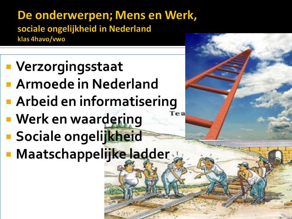  Verzorgingsstaat  Armoede in Nederland  Arbeid en informatisering  Werk en waardering  Sociale ongelijkheid  Maatschappelijke ladder