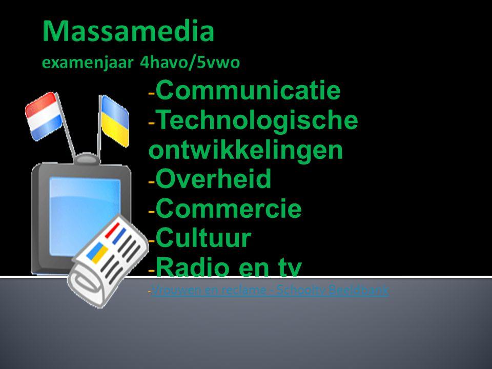 - Communicatie - Technologische ontwikkelingen - Overheid - Commercie - Cultuur - Radio en tv - Vrouwen en reclame - Schooltv Beeldbank Vrouwen en rec