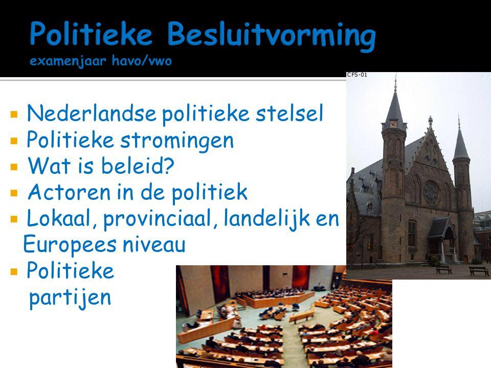  Nederlandse politieke stelsel  Politieke stromingen  Wat is beleid?  Actoren in de politiek  Lokaal, provinciaal, landelijk en Europees niveau 