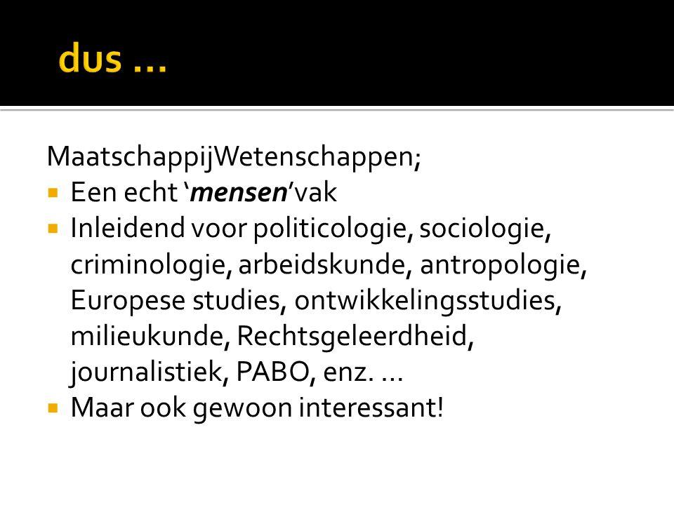 MaatschappijWetenschappen;  Een echt 'mensen'vak  Inleidend voor politicologie, sociologie, criminologie, arbeidskunde, antropologie, Europese studi