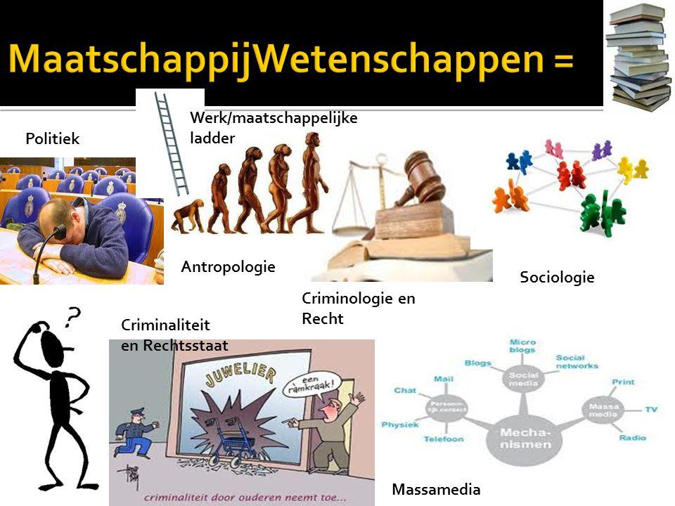 Antropologie Criminologie en Recht Criminaliteit en Rechtsstaat Massamedia Politiek Sociologie Werk/maatschappelijke ladder