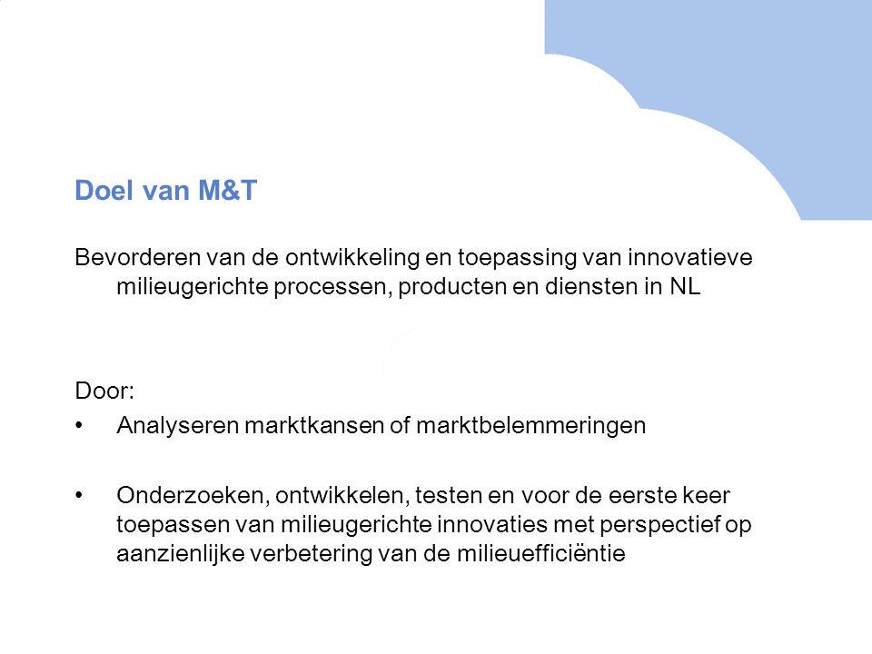 Doel van M&T Bevorderen van de ontwikkeling en toepassing van innovatieve milieugerichte processen, producten en diensten in NL Door: Analyseren marktkansen of marktbelemmeringen Onderzoeken, ontwikkelen, testen en voor de eerste keer toepassen van milieugerichte innovaties met perspectief op aanzienlijke verbetering van de milieuefficiëntie