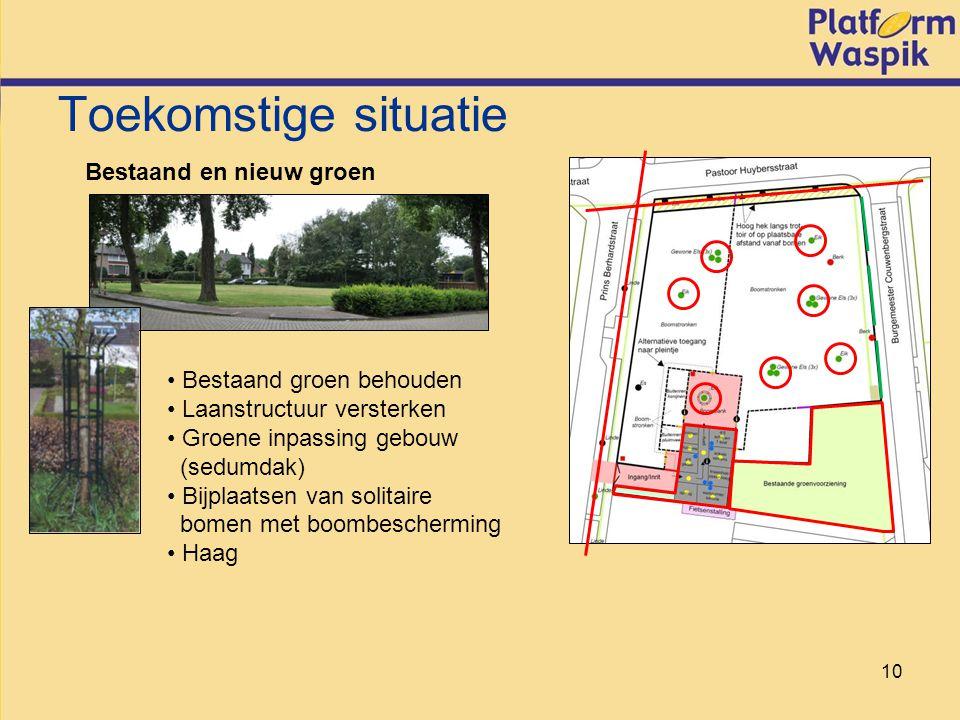 10 Toekomstige situatie Bestaand en nieuw groen Bestaand groen behouden Laanstructuur versterken Groene inpassing gebouw (sedumdak) Bijplaatsen van solitaire bomen met boombescherming Haag