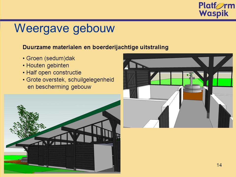 14 Weergave gebouw Duurzame materialen en boerderijachtige uitstraling Groen (sedum)dak Houten gebinten Half open constructie Grote overstek, schuilgelegenheid en bescherming gebouw