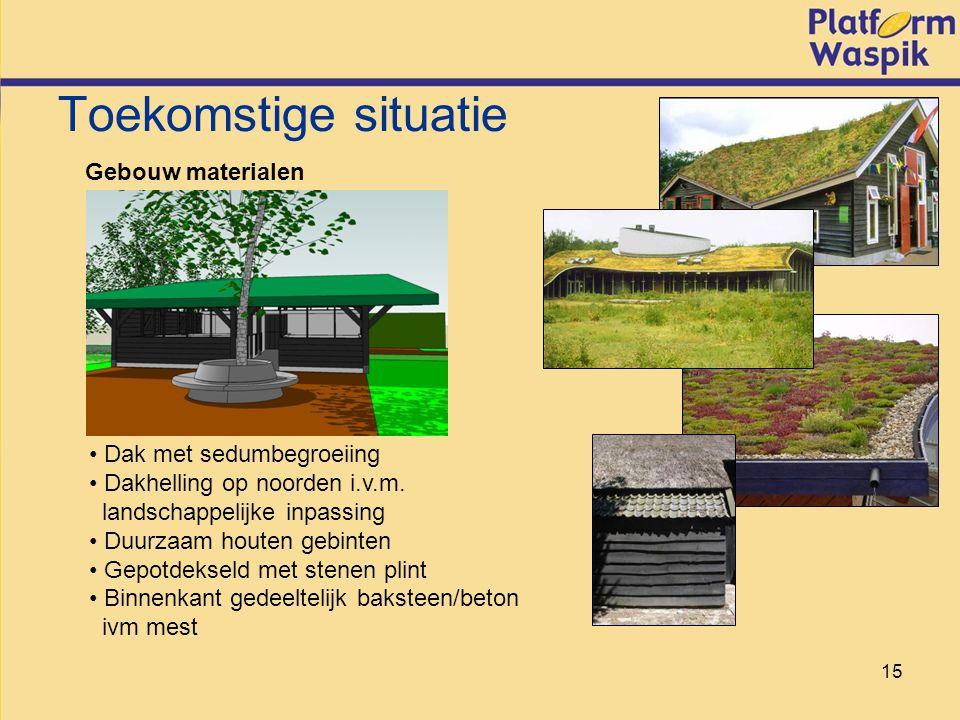 15 Toekomstige situatie Gebouw materialen Dak met sedumbegroeiing Dakhelling op noorden i.v.m.
