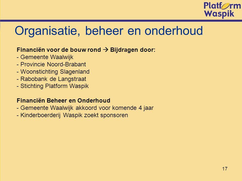 17 Organisatie, beheer en onderhoud Financiën voor de bouw rond  Bijdragen door: - Gemeente Waalwijk - Provincie Noord-Brabant - Woonstichting Slagenland - Rabobank de Langstraat - Stichting Platform Waspik Financiën Beheer en Onderhoud - Gemeente Waalwijk akkoord voor komende 4 jaar - Kinderboerderij Waspik zoekt sponsoren