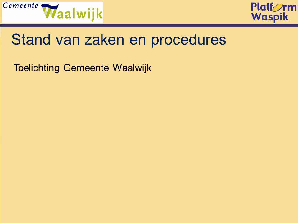 Stand van zaken en procedures Toelichting Gemeente Waalwijk