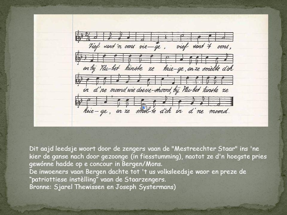 Dit leedsje (couplèt 3, 4 en 5 bestoonte al) woort gezoonge mèt 'nen nuien teks (couplèt 1 en 2) nao de staking in 1896 op 't febrik vaan Regout. De z