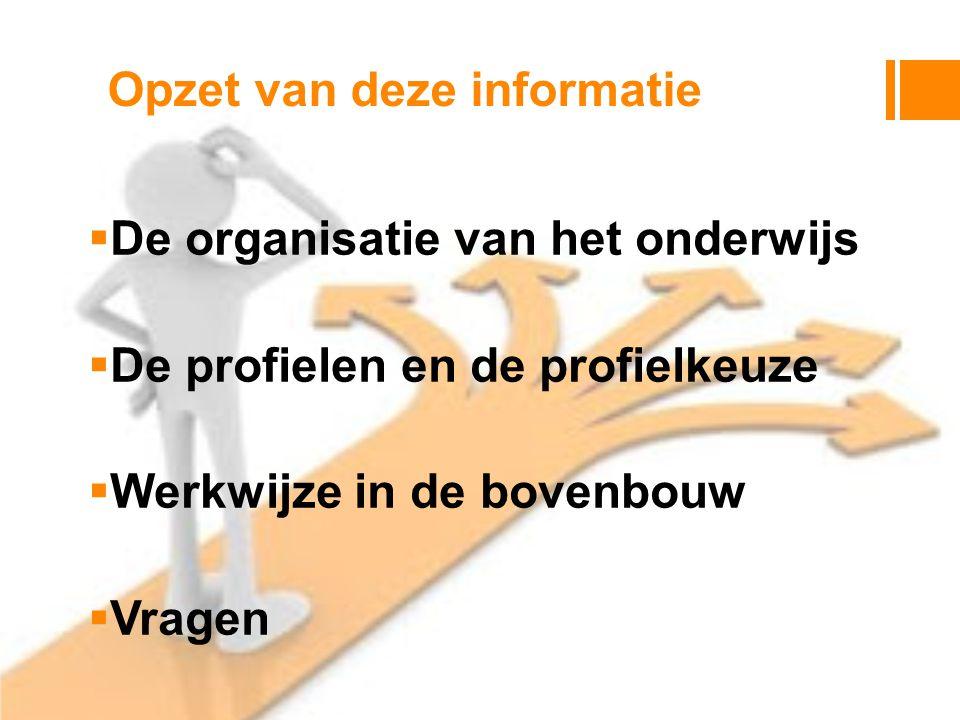 Opzet van deze informatie  De organisatie van het onderwijs  De profielen en de profielkeuze  Werkwijze in de bovenbouw  Vragen