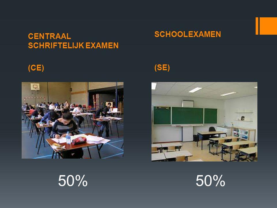 CENTRAAL SCHRIFTELIJK EXAMEN (CE) SCHOOLEXAMEN (SE) 50% 50%