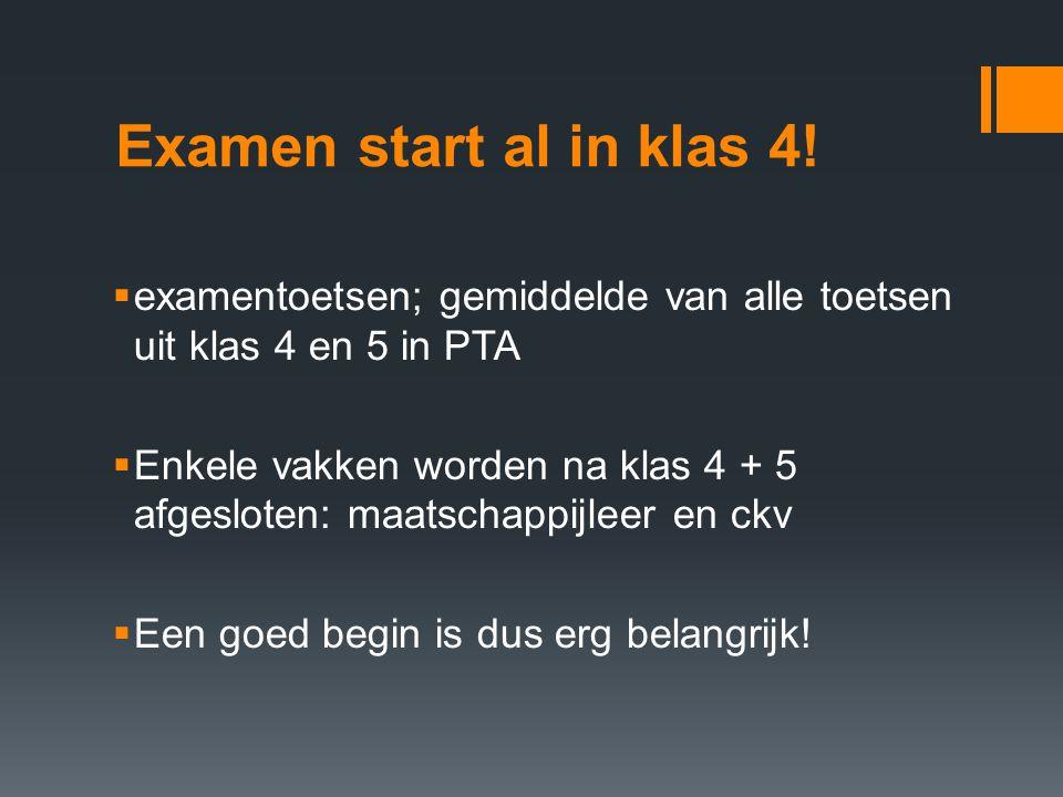 Examen start al in klas 4.
