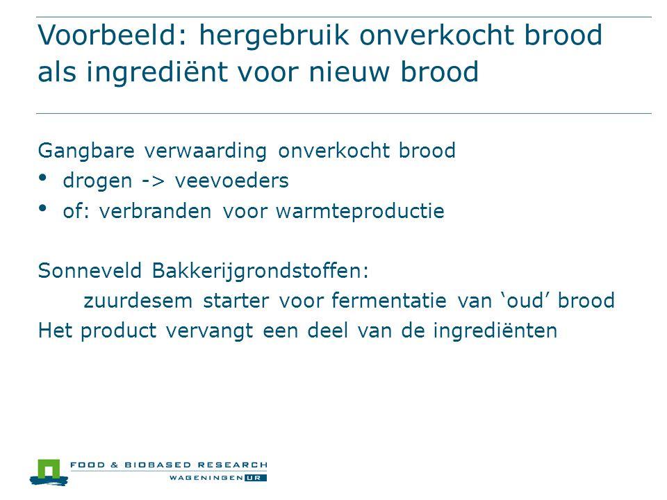 Voorbeeld: hergebruik onverkocht brood als ingrediënt voor nieuw brood Gangbare verwaarding onverkocht brood drogen -> veevoeders of: verbranden voor