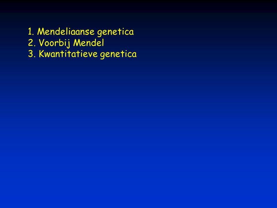 1. Mendeliaanse genetica 2. Voorbij Mendel 3. Kwantitatieve genetica