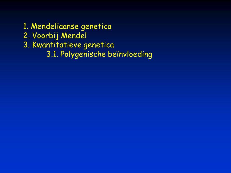 1. Mendeliaanse genetica 2. Voorbij Mendel 3. Kwantitatieve genetica 3.1. Polygenische beïnvloeding