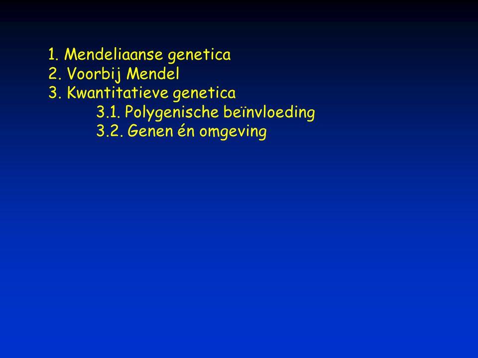 1. Mendeliaanse genetica 2. Voorbij Mendel 3. Kwantitatieve genetica 3.1. Polygenische beïnvloeding 3.2. Genen én omgeving